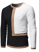 abordables Camisetas y Tops de Hombre-Hombre Retazos Camiseta, Escote Redondo Bloques Blanco XL
