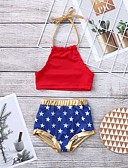 levne Dívčí plavky-Toddler Dívčí Aktivní / Cikánský Galaxie Volná záda / Šněrování / Tisk Bavlna / Nylon Plavky Rubínově červená