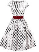 preiswerte Retro-Königin-Midi-Swingkleid für Damen Weiß Schwarz S M L XL
