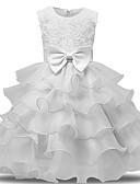 preiswerte Kleider für die Blumenmädchen-Prinzessin Midi Blumenmädchenkleid - Spitze / Tüll Ärmellos Schmuck mit Applikationen / Schleife(n) / Schleifen durch LAN TING Express