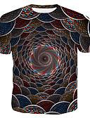 お買い得  メンズTシャツ&タンクトップ-男性用 プリント Tシャツ ラウンドネック 幾何学模様 / 3D / グラフィック コットン レインボー XL