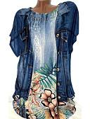 رخيصةأون تيشيرتات وتانك توب رجالي-نسائي قطن قميص قياس كبير فضفاض ورد أخضر XXXL / الربيع / الصيف
