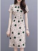 levne Print Dresses-Dámské Základní Štíhlý Pouzdro Šaty - Květinový, Tisk Délka ke kolenům