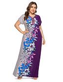 hesapli Print Dresses-Kadın's Vintage Zarif Kombinezon Elbise - Çiçekli, Desen Maksi