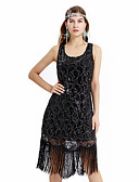 cheap Historical & Vintage Costumes-The Great Gatsby Vintage 1920s Costume Women's Party Costume Masquerade Flapper Dress Black Vintage Cosplay Sequin Party Prom Dress Sleeveless Above Knee