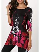 Χαμηλού Κόστους Πλατύ Πόδι-Γυναικεία Μεγάλα Μεγέθη T-shirt Φλοράλ Λουλουδάτο Βυσσινί XXXL / Άνοιξη / Καλοκαίρι / Φθινόπωρο / Χειμώνας