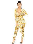 cheap Women's Pants-Women's Yellow Harem Jumpsuit, Floral M L XL