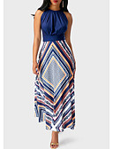 cheap Wedding Dresses-2019 New Arrival Sundresses Women's Holiday Going out Casual / Daily Sexy Maxi Slim Tunic Swing Sundress Elbise Vestidos Robe Femme - Floral Stripes Geometic Spring Navy Blue M L XL / Halter Neck