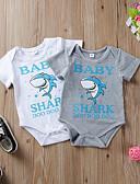 billige BabyGutterdrakter-Baby Gutt Aktiv / Grunnleggende Ensfarget / Trykt mønster Dyre Mønster Kort Erme Bomull Endelt Hvit