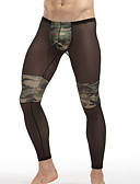 abordables Ropa Interior y Calcetines de Hombre-Hombre Talla Asiática Sexy Slip - Estampado, Bloques / camuflaje Media cintura Negro L XL XXL