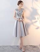 preiswerte Brautjungfernkleider-A-Linie Ein-Schulter Knie-Länge Satin Brautjungfernkleid mit Spitze durch LAN TING Express