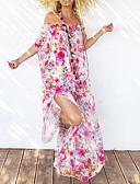 abordables Robes Maxi-Femme Chic de Rue Maxi Balançoire Robe - Imprimé, Fleur Violet Jaune Kaki Taille unique Manches Courtes