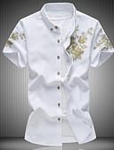 Недорогие Мужские футболки и майки-Муж. Большие размеры - Рубашка Классический воротник Цветочный принт Черный US44 / С короткими рукавами / Лето