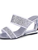 cheap Evening Dresses-Women's Microfiber Spring & Summer Sandals Heterotypic Heel Open Toe Black / Silver / Party & Evening