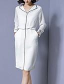 billige Maxikjoler-Dame Skjorte Kjole Skjortekrage Knelang