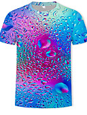 cheap Men's Tees & Tank Tops-Men's Daily Wear Casual / Daily Plus Size Street chic / Exaggerated T-shirt - Color Block / 3D Print Round Neck Rainbow XXXXL / Short Sleeve