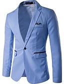 ราคาถูก เบลเซอร์ &สูทผู้ชาย-สำหรับผู้ชาย ทำงาน ปกติ เสื้อคลุมสุภาพ, สีพื้น ปกคอแบะของเสื้อแบบน็อตช์ แขนยาว เส้นใยสังเคราะห์ สีเทา / สีฟ้า / สีน้ำเงินกรมท่า XL / XXL / XXXL