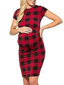 abordables Robes-Femme Sophistiqué Elégant Maxi Mousseline de Soie Robe - Plissé Imprimé, Géométrique Rouge L XL XXL Manches Courtes