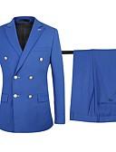ieftine Costume-Kaki / Bleumarin / Negru Mată Standard Fit Bumbac / polyster Costum - Vârf Rânduri Duble Șase-butoane