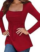 זול חצאיות לנשים-אחיד צווארון מרובע טישרט - בגדי ריקוד נשים קפלים שחור M / אביב / קיץ / סתיו / חורף