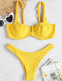 cheap Bikinis-Women's Yellow Cheeky Tankini Swimwear - Solid Colored S M L Yellow