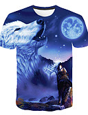 cheap Men's Tees & Tank Tops-Men's Club Basic / Street chic T-shirt - Color Block / 3D / Animal Wolf, Print Round Neck Blue XXXL / Short Sleeve
