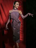 お買い得  メンズパンツ&ショーツ-ラテンダンス ドレス 女性用 性能 スパンデックス / ベルベットシフォン フリル / タッセル ノースリーブ ドレス