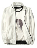 hesapli Erkek Ceketleri ve Kabanları-Erkek Günlük Temel Normal Ceketler, Solid Dik Yaka Uzun Kollu Polyester Beyaz / Siyah