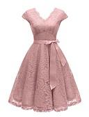 halpa Vintage-kuningatar-Naisten Katutyyli Tyylikäs Swing Mekko - Yhtenäinen, Pitsi Patchwork Painettu V kaula-aukko Polvipituinen dusty Rose