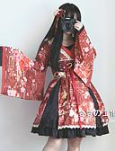 abordables Velos de Boda-Gótico Mujer Vestidos Disfrace de Cosplay Cosplay Negro / Beige / Rojo Campana Manga Larga Sobre la Rodilla Disfraces
