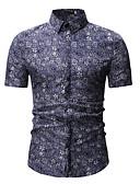 levne Pánské košile-Pánské - Geometrický / Etno Košile, Žakár / Tisk Klasický límeček Vodní modrá