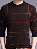 levne Pánské košile-Pánské - Jednobarevné Tričko, Tisk Kulatý Štíhlý Námořnická modř XL
