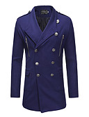 cheap Men's Hoodies & Sweatshirts-Men's Daily / Work Spring &  Fall Regular Trench Coat, Solid Colored Turndown Long Sleeve Cotton / Polyester Black / Camel / Royal Blue XL / XXL / XXXL