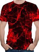 hesapli Erkek Tişörtleri ve Atletleri-Erkek Yuvarlak Yaka Tişört 3D YAKUT