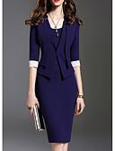 abordables Robes Femme-Femme Basique Mi-long Mince Gaine Robe Couleur Pleine Violet Bleu Marine S M L Demi Manches