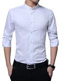 billige Herreskjorter-Stående krave Tynd Herre - Ensfarvet Bomuld Skjorte