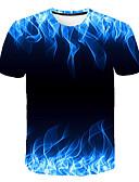 お買い得  メンズTシャツ&タンクトップ-男性用 プリント Tシャツ ラウンドネック 幾何学模様 レインボー XXXL