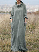 cheap Maxi Dresses-Women's Plus Size Street chic Maxi Sheath Dress - Solid Colored Fashion Turtleneck Spring Black Silver XL XXL XXXL
