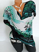 halpa Yksiosaiset uima-asut-Naisten Puuvilla Painettu Geometrinen Pluskoko - T-paita Apila