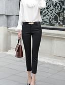 お買い得  レディースセーター-女性用 ベーシック スーツ パンツ - ソリッド ハイウエスト コットン ホワイト ブラック ネイビーブルー L XL XXL