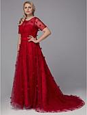 povoljno Večernje haljine-Sirena kroj Ovalni izrez Jako kratki šlep Til Formalna večer Haljina s Aplikacije po TS Couture®