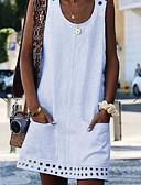 hesapli Mini Elbiseler-Kadın's Büyük Bedenler Kombinezon Elbise - Solid Diz üstü