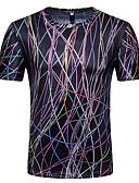 お買い得  メンズパンツ&ショーツ-男性用 Tシャツ ラウンドネック 3D ブラック L
