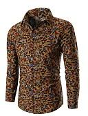 levne Pánské košile-Pánské - Květinový Košile Štíhlý Námořnická modř XL