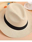 billige Hatter til damer-Dame Grunnleggende Stråhatt Ensfarget Strå Beige Gul Kakifarget