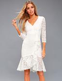 저렴한 로맨틱 레이스-여성용 우아함 칼집 드레스 - 솔리드, 레이스 무릎길이
