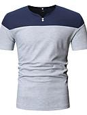お買い得  メンズTシャツ&タンクトップ-男性用 パッチワーク EU / USサイズ Tシャツ Vネック カラーブロック コットン ブラック L