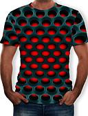 billige T-shirts og undertrøjer til herrer-Rund hals Herre - Farveblok / 3D / Grafisk Trykt mønster T-shirt Sort XXXXL