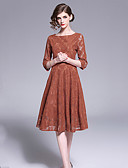 Χαμηλού Κόστους Γυναικεία Φορέματα-Γυναικεία Κομψό Γραμμή Α Φόρεμα - Μονόχρωμο, Δίχτυ Patchwork Ως το Γόνατο