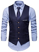 cheap Men's Blazers & Suits-Men's Daily Business EU / US Size Regular Vest, Solid Colored V Neck Sleeveless Cotton Patchwork Navy Blue / Gray / Wine XL / XXL / XXXL / Business Casual